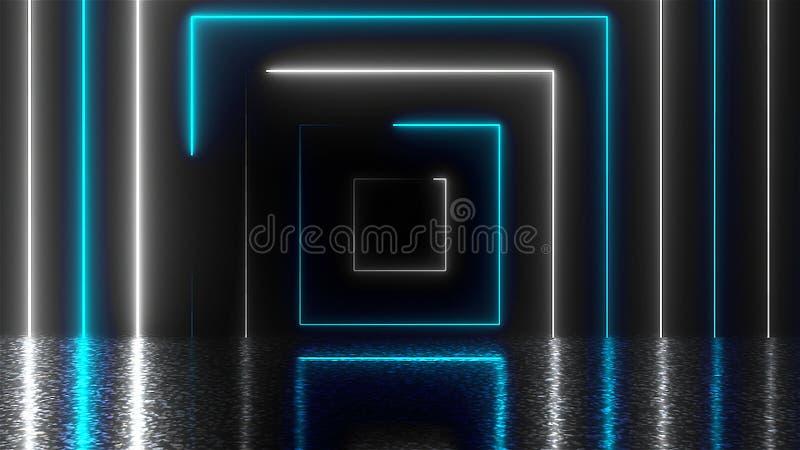 Tunnel al neon quadrato astratto con la riflessione, fondo generato da computer, rappresentazione 3D royalty illustrazione gratis