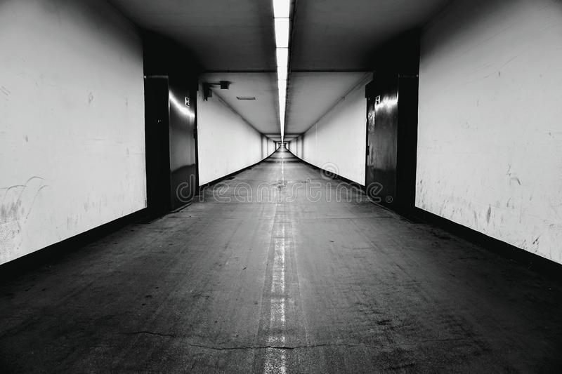 Tunnel in antwerp. Nightshot of an empty tunnel stock images