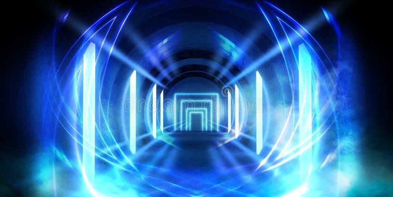 Tunnel astratto, corridoio con i raggi dei punti culminanti leggeri e nuovi Fondo blu astratto, al neon immagine stock