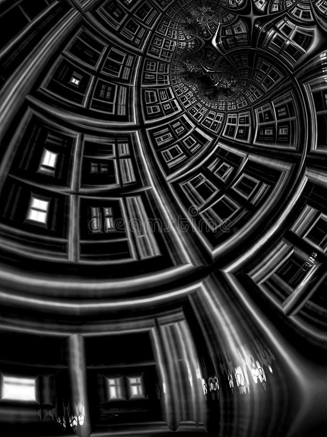 Tunnel astratto di frattale - immagine digitalmente generata illustrazione di stock
