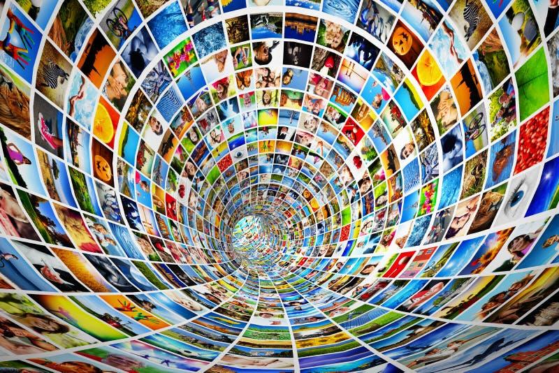 Tunnel av massmedia, bilder, fotografier vektor illustrationer