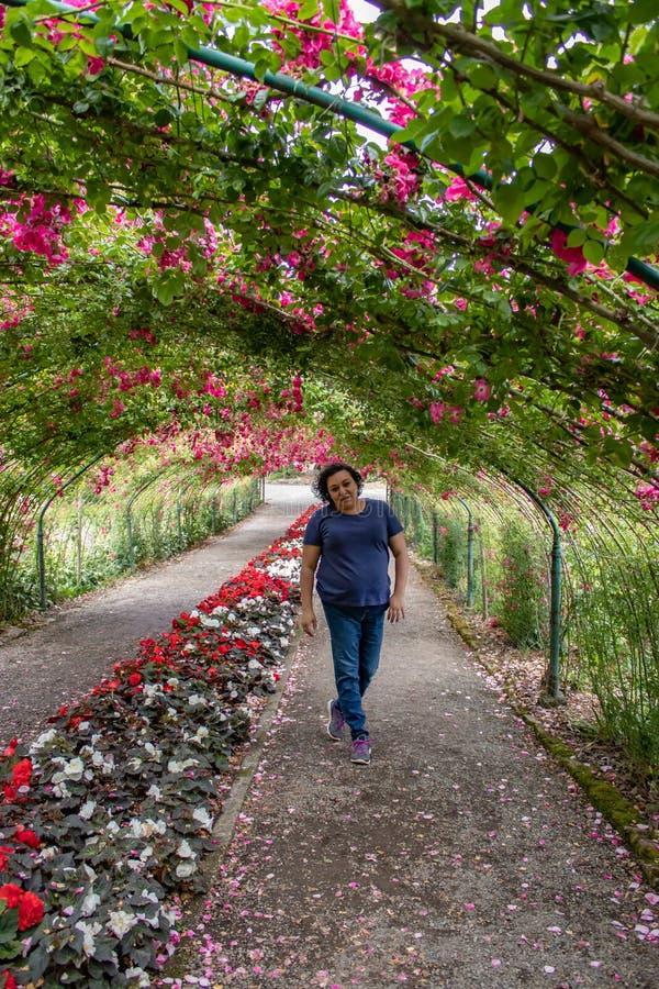 Tunnel av rosor med en ung kvinna royaltyfri foto