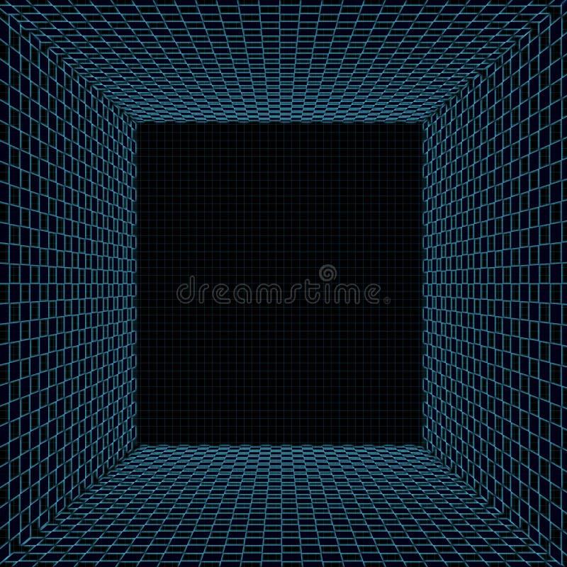 Tunnel avec la grille de turquoise illustration de vecteur