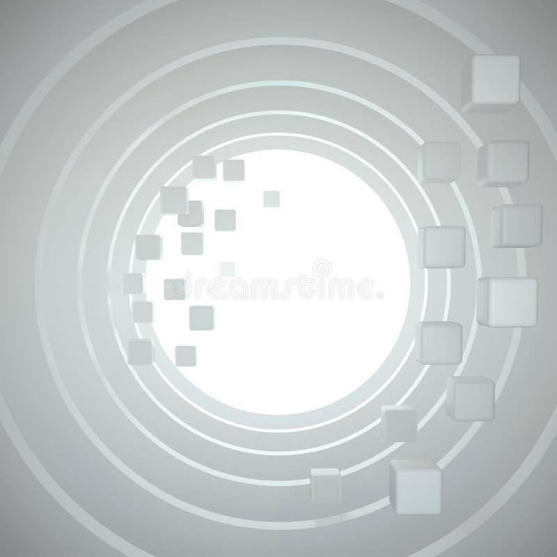 Tunnel blanc rond avec le vol, cubes en baisse dans la perspective illustration de vecteur