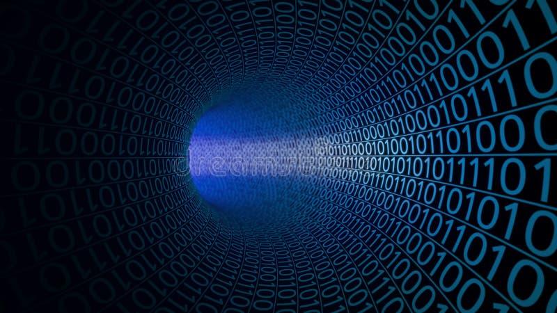 Tunnel bleu abstrait fait avec des zéros et ceux Fond de pointe service informatique, transfert des données binaire, technologies illustration stock