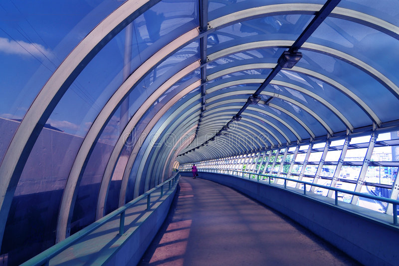 Tunnel in blue stock photo