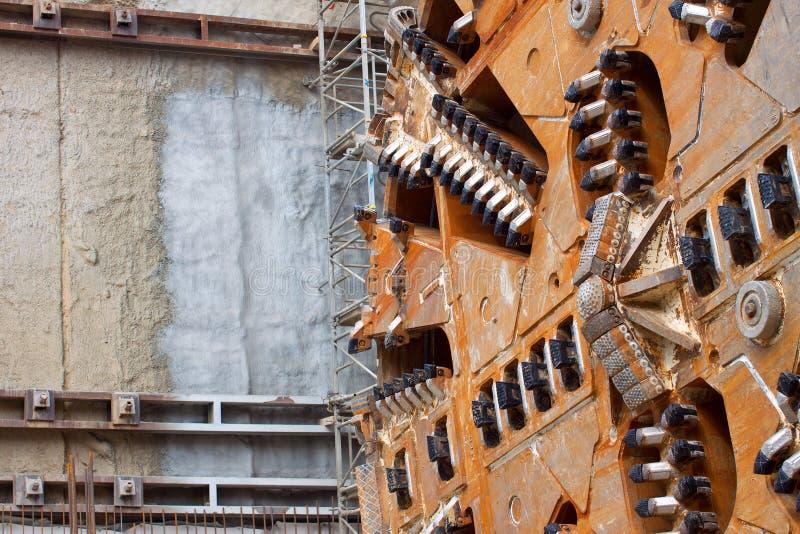 Tunnel boring machine. Close-up of tunnel boring machine cutter head constructing metro stock photos