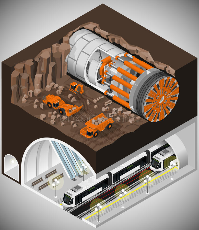 Tunnel boring machine at the construction. royalty free illustration