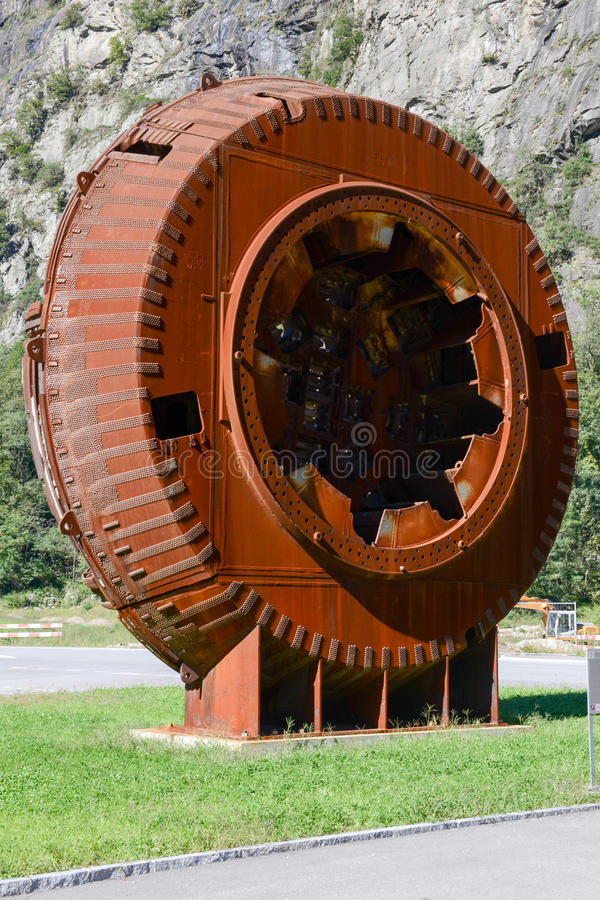 Tunnel boring machine. Cutter head royalty free stock photography