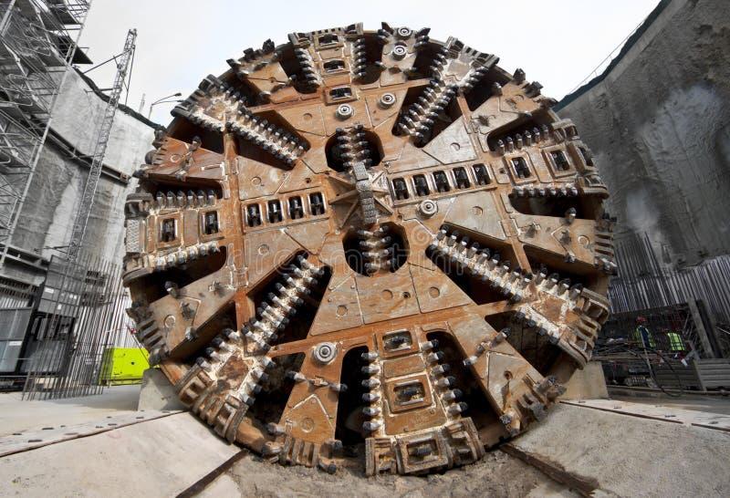 Tunnel boring machine head. Tunnel boring machine cutter head stock photo