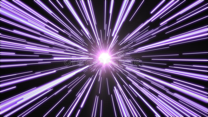 Tunnel of bright, purple light. Purple lights flying past at high speed, with a bright white light at the end of the tunnel stock images
