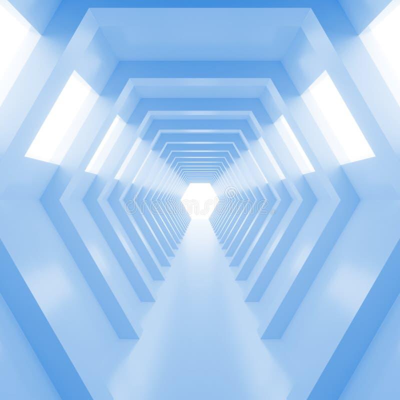 Tunnel brillant bleu frais vide abstrait avec la lumière à la fin 3d rendent illustration de vecteur