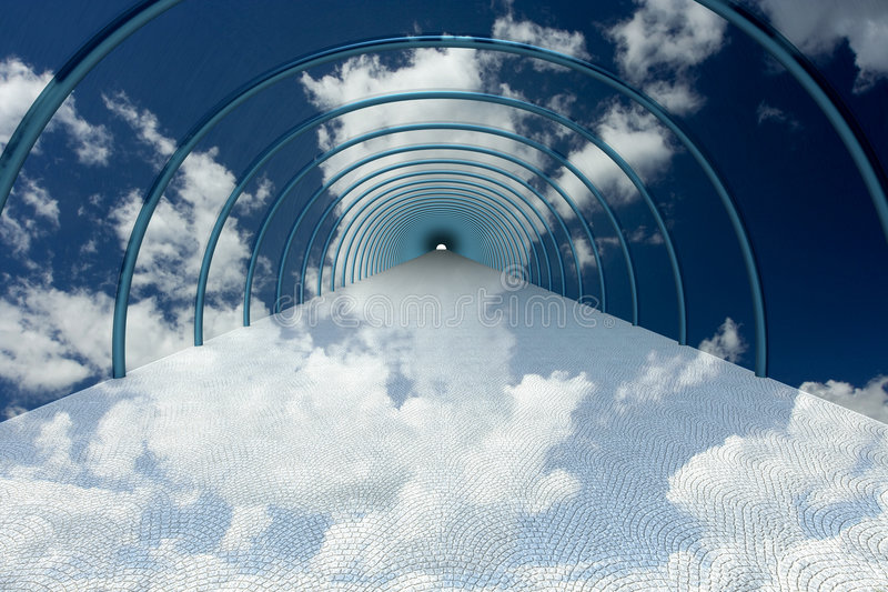 Download Tunnel in clouds. stock illustration. Illustration of blue - 6399500