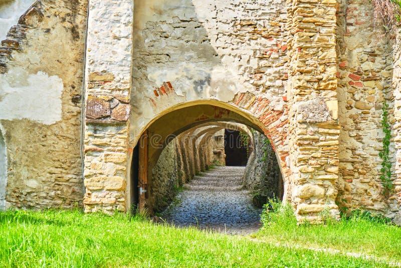 Tunnel con gli arché multipli e ciottolo che passa tramite una parete di pietra del mattone, dall'esterno dell'erba verde all'int fotografia stock
