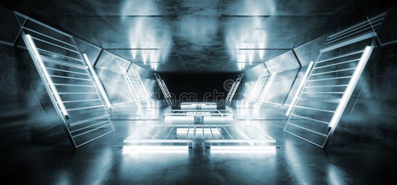 Tunnel concreto d'ardore cinematografico di lerciume riflettente di Mesh Spaceship Virtual White Blue del metallo futuristico del royalty illustrazione gratis