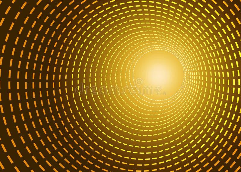 Tunnel d'or de Technologie de pointe de résumé illustration stock