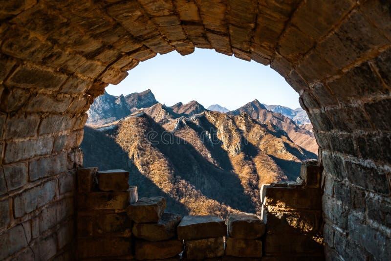 Tunnel dans la Grande Muraille de la Chine images libres de droits