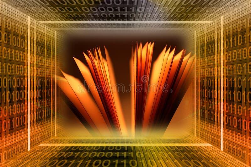Tunnel de code binaire et un livre illustration de vecteur