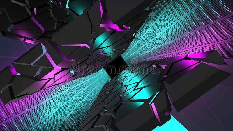 Tunnel de haute technologie de couleur cyan et violet avec sol et murs futuristes Perspective de rotation et extrémité du canal a illustration de vecteur