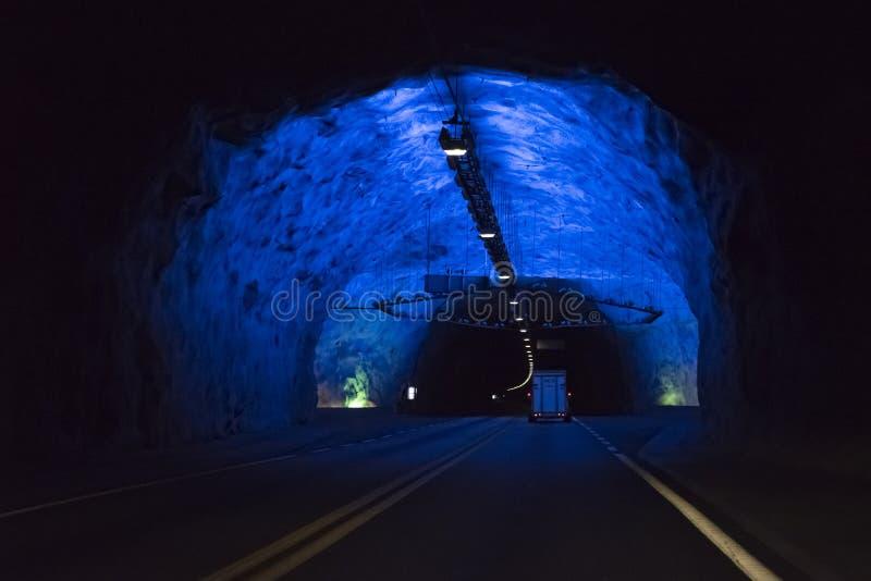 Tunnel de Lærdal - Norvège photos stock