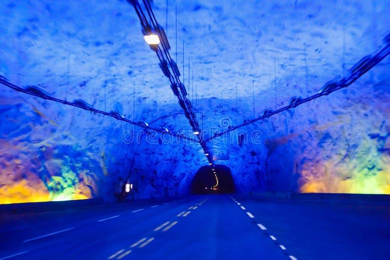 Tunnel de Laerdal en Norvège images libres de droits