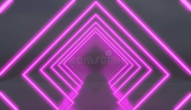 Tunnel de losange fait de lampes au néon roses illustration de vecteur