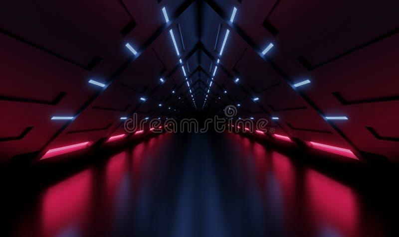 Tunnel de rendu 3D Pièce intérieure bleue et rose, couloir illustration libre de droits