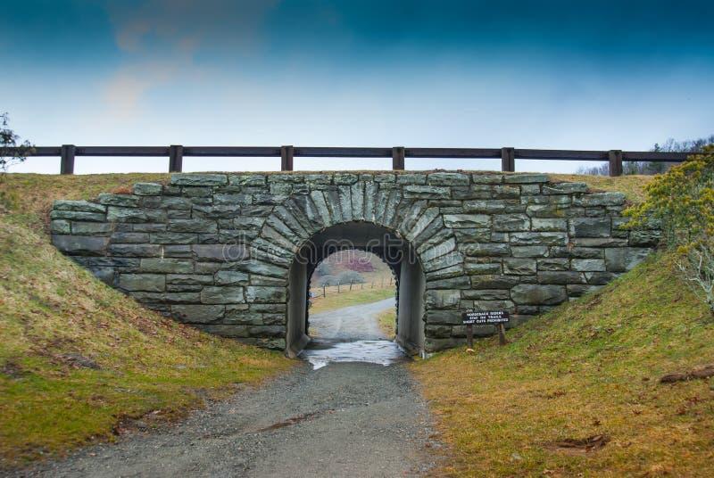 Tunnel de traînée sous Ridge Parkway bleu photos stock