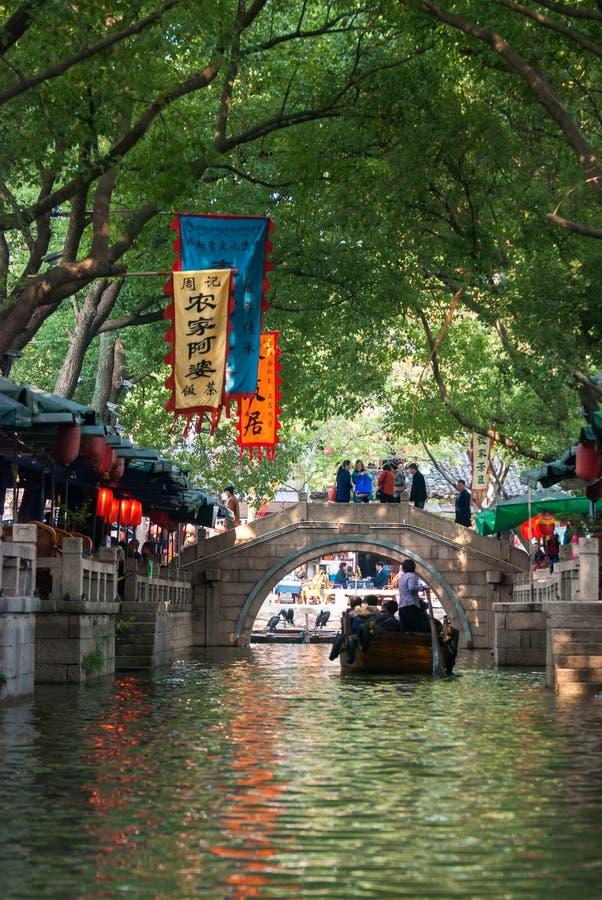 Tunnel del fiume in Zhouzhuang, città di acqua, Zhouzhuang immagine stock