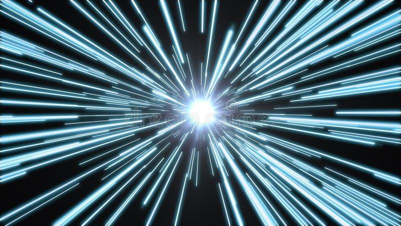 Tunnel di luce luminosa e blu fotografia stock