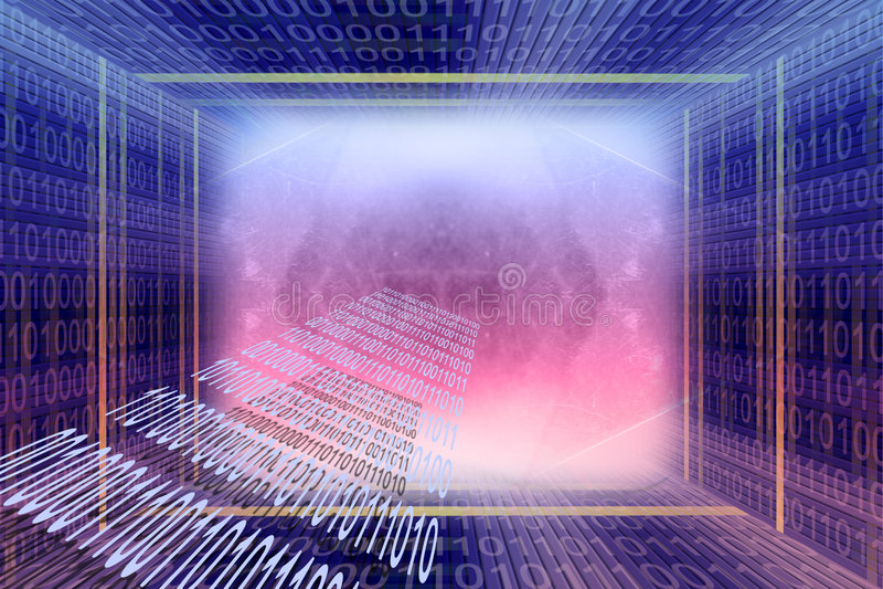 Tunnel digital de code binaire photo libre de droits