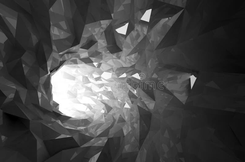 Tunnel digitale di cristallo nero brillante astratto 3d illustrazione vettoriale