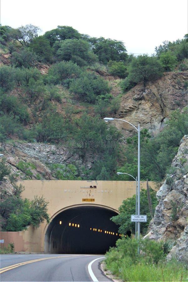 Tunnel du Mule Pass, Bisbee, Arizona, États-Unis photographie stock