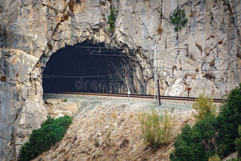 Tunnel entrant ferroviaire au-dessus de roche photos libres de droits