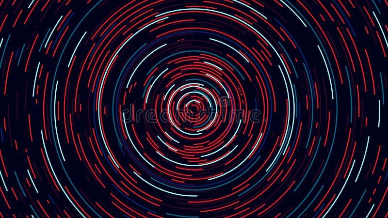 Tunnel för cyber för färgcirkel, futuristisk abstrakt bakgrund, vektor royaltyfri illustrationer
