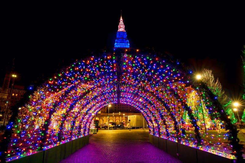 Tunnel för julljus royaltyfria bilder