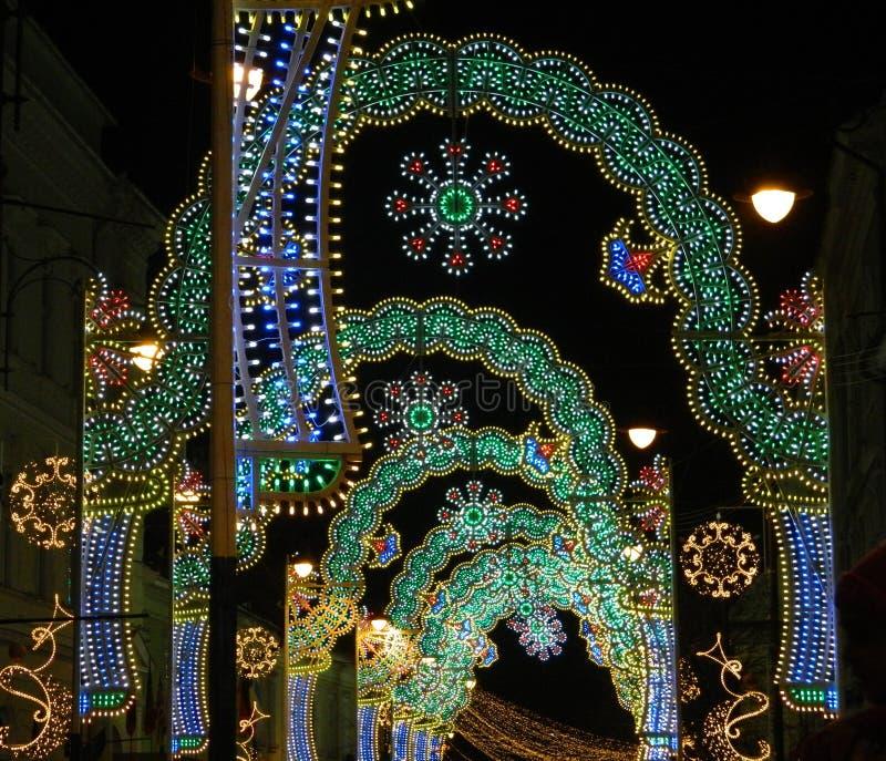 Tunnel för julljus royaltyfri foto