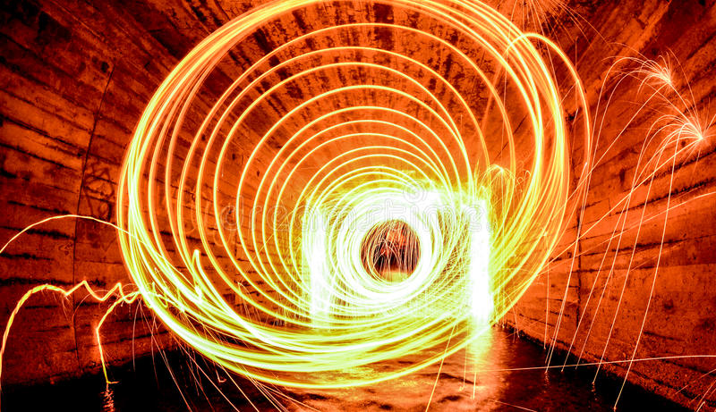 Tunnel of fire stock image