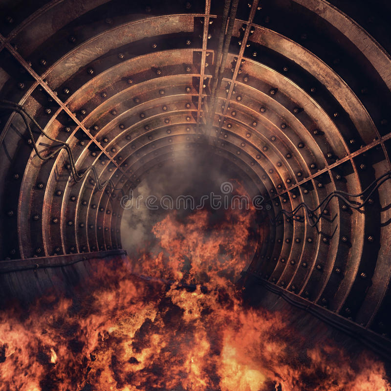 Tunnel in flames royalty free illustration