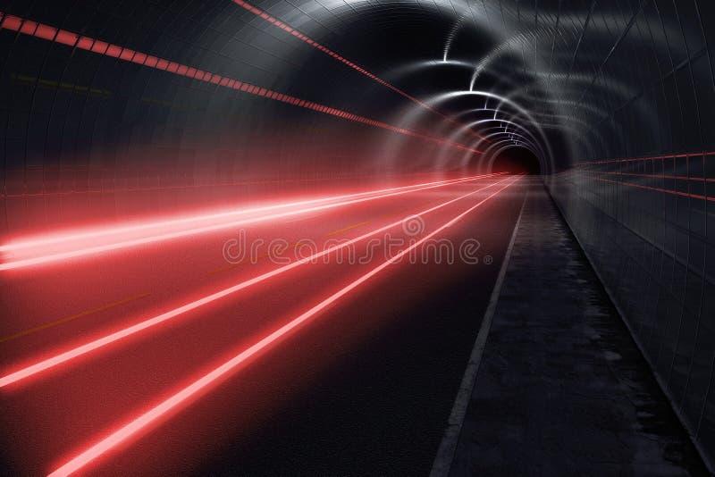 Tunnel foncé avec les journaux légers illustration stock