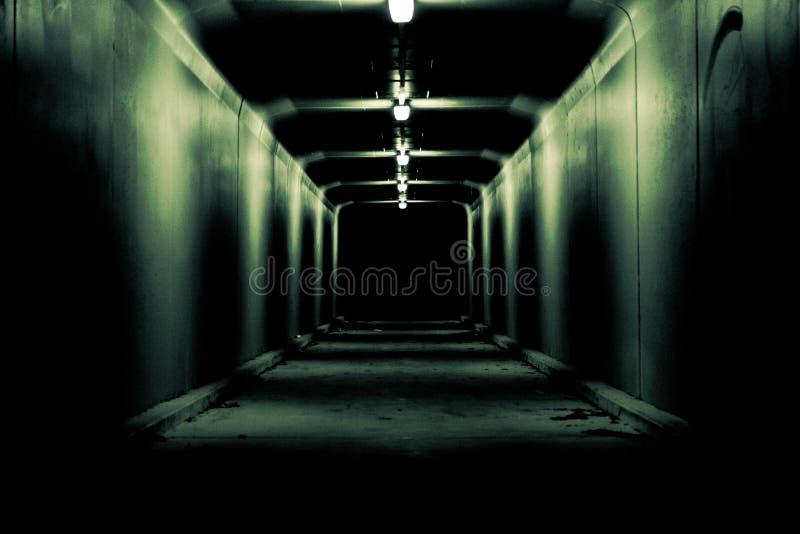 Tunnel foncé rampant à nulle part images stock