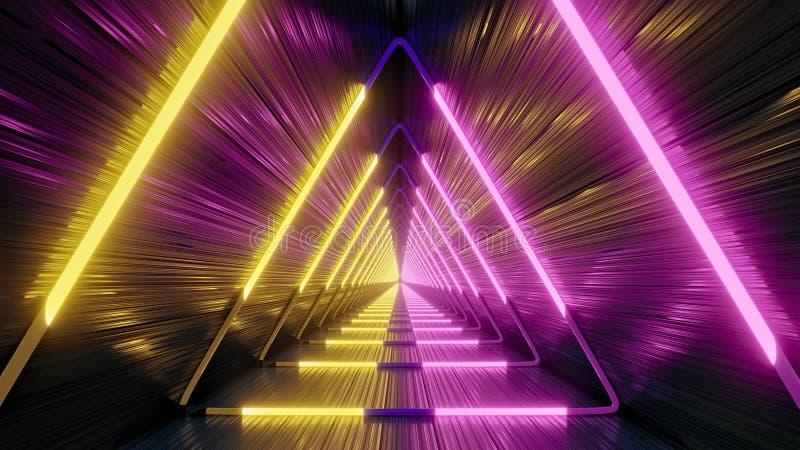 Tunnel futuriste avec les lampes au néon jaunes et pourpres, rendu 3D illustration libre de droits