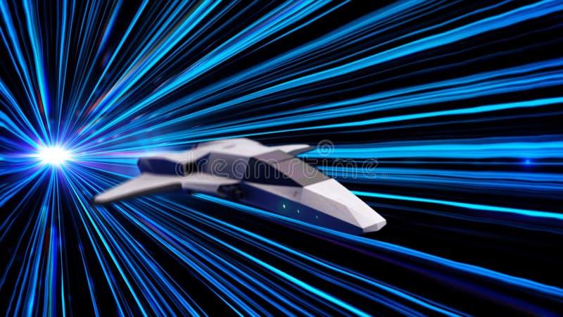 Tunnel futuriste avec les rayons bleus de lampe au néon et un vaisseau spatial faisant un saut animation Saut dans le temps et l' illustration de vecteur