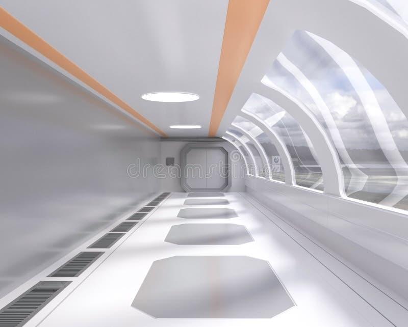 tunnel futuristico luminoso della rappresentazione 3d con la finestra e la vista esterna, corridoio, astronave royalty illustrazione gratis