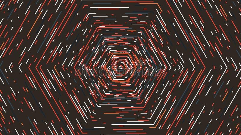 Tunnel hexagonal dans de rétros couleurs, fond abstrait de vecteur illustration libre de droits