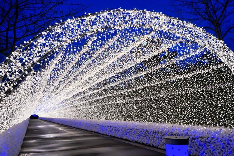 Tunnel illumination lights in the winter stock photo