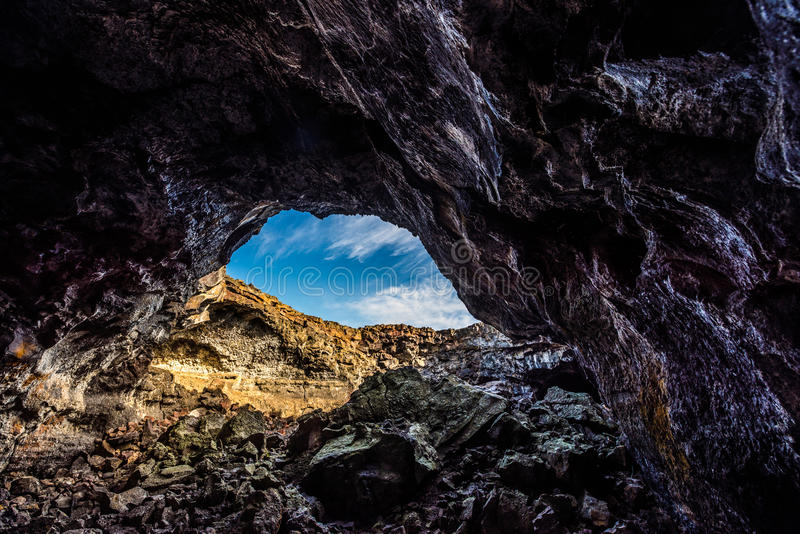 Tunnel indien Lava Tubes Cave photographie stock