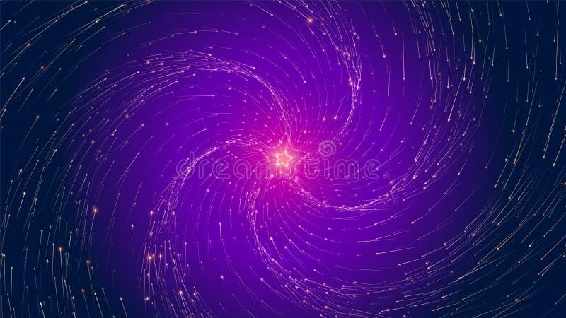 Tunnel infinito della stella di vettore delle frecce Le frecce d'ardore formano i settori del tunnel Visualizzazione variopinta d illustrazione vettoriale