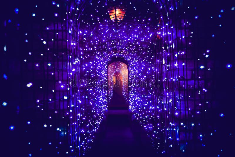Tunnel light in Christmas day royalty free stock photography
