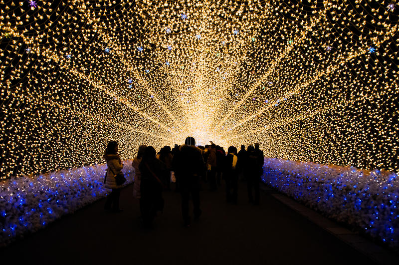 The tunnel of light in Nabana no Sato garden at night in winter, Japan stock photography